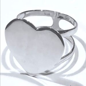 Jewelry - Solid 14k White Gold Heart Ring Bold Statement Sz9
